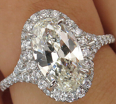 14K Gold 2.98CT Oval Cut Diamond Unique Specification Certified Engagement Ring