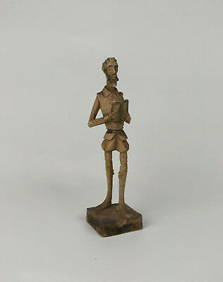Vintage Hand Carved Wooden Don Quixote Figure | Ouro Spain | Wood Carving Statue