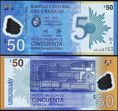 Uruguay 50 Pesos 2017 (2018), UNC , 2 Pcs PAIR, Comm. 50th Ann, POLYMER, P-New,A
