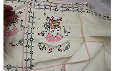 4 Imperial 3D Linen Placemat 17x11 Farm Lady Rooster Chicken 3 Napkins 12x12