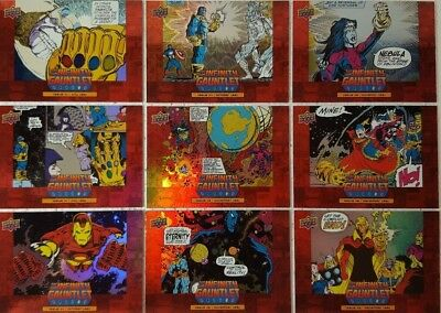 2018 Upper Deck Avengers Infinity War Trading Card Set of 10 INFINITY GAUNTLET