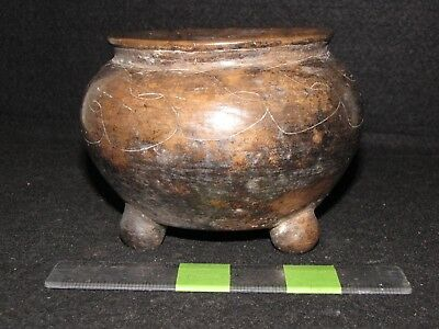 Pre Columbian, Pottery, Mayan Brown Ware Tripod Vessel, Early Classic 300 600 AD