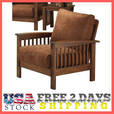 Mission Style Oak Accent Chair Living Room Arm Chairs Brown Rust Armchairs NEW
