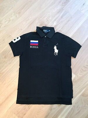 1a88ee44708ee9 Polo Ralph Lauren Russia Flag Taille M Custom Fit Collector Big Pony