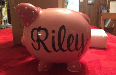NEW Pink PIGGY Bank Coin Money Cash Collectible Ceramic Box Inscribed Riley