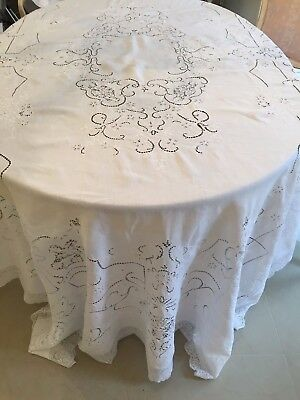"""Antique Vintage ITALIAN WHITE WORK AND NEEDLE LACE Tablecloth   120""""x72"""""""