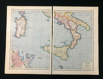Vintage Map 1920, SOUTH ITALY, Palermo Inset, Harmsworth's Atlas
