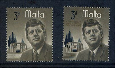 Malta QE 1966 Kennedy 3d with GOLD OMITTED Lightly Mounted Mint