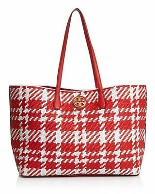 4bb0942b4a0 NEW TORY BURCH Duet Woven Leather Tote Shoulder Bag CHERRY APPLE WHT IVORY   595