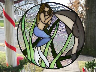 Stained Glass Mermaid (Looking through the Porthole)  Sun catcher (Real Glass)