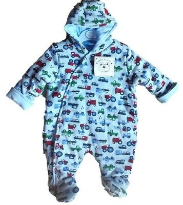 Wholesale Job Lot of 10 NEW Baby Boys Blue Interlock Padded Snowsuits/Pramsuits