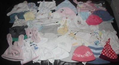 Wholesale Job Lot of 100 x assorted NEW cotton & velour Baby Hats  - FREE POST