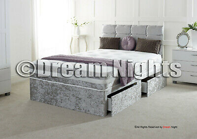"New Crushed Velvet Divan Bed With Matching Mattress And Free 20"" Headboard"