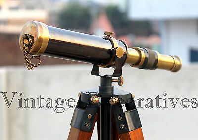 Nautical Telescope With Wooden Stand Two Tone Antique Brass Spyglass Scope Decor