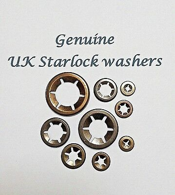 Starlock Washers Push On Lock Grab Star Nut Fastener Clips Pack Of 10 2mm-16mm