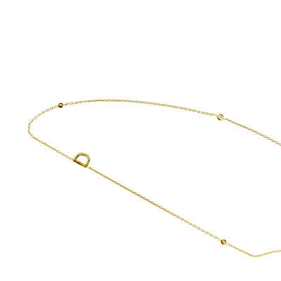 TAI Jewelry D Initial with Three CZ Gold Necklace Original (Brand New)