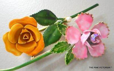 Original By Robert Golden Yellow Rose Flower Pin, Pink Rose Vintage Flower Pin