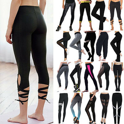 Women Yoga Leggings Fitness Pants Gym Running Sports Stretch Athletic Trousers