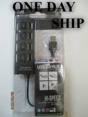 4 Port High Speed USB2.0 HUB Expansion Power Adapter Splitter Laptop PC On/Off