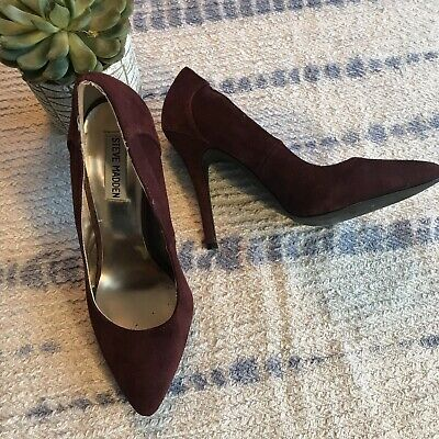 6ab089e1853 STEVE MADDEN PURPLE Plum Suede Pointed Toe High Heels Womens Size ...