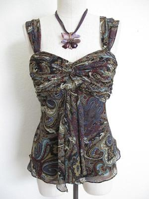 Jackie Jon Bustier Cami Top 8 Beaded Paisley Ruched Crinkle Chiffon Front Drape