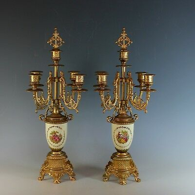 Vintage Set Ormolu and Porcelain Five Candle Candelabra