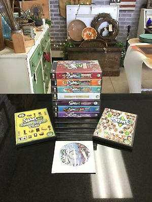 The Sims 2 PC Lot Bundle of 10  Expansions Stuff Packs w/ Cases