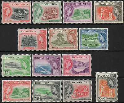 Dominica 1954 QEII set of mint stamps value to $2.40 Lightly Hinged