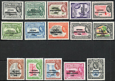 British Guiana 1966 QEII Independence set of mint stamps to $5  Lightly Hinged