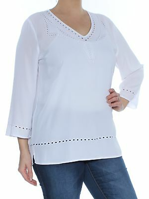 a94e2a20743a0f NYDJ $98 Womens New 1437 White Eyelet Embroidered 3/4 Sleeve Blouse Top L B