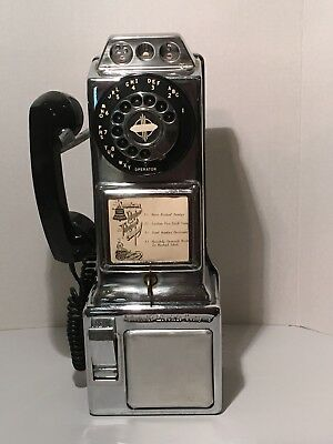 Vintage Automatic Electric Company Three Coin Rotary Dial Pay Phone with KEY