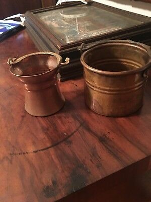 Pair Of Vintage Small Round Copper Cauldron Pails/Pots With Handles