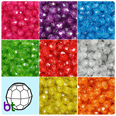 BeadTin Sparkle 8mm Faceted Round Craft Beads (450pcs) - Color choice