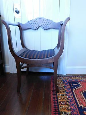 Deco Accent Arm Chair Walnut Wood Striped Seat