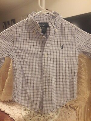 Ralph Lauren Polo Button Down Navy white Blue Plaid Shirt Boys 2 2t ~ FREE Ship