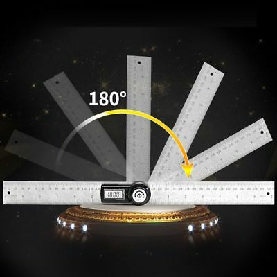 LCD Display Digital Measuring Coin Battery Ruler Stainless Steel Angle Finder