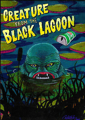 Original Creature from the Black Lagoon Acrylic painting on wood by Mikotank