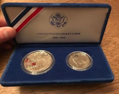 1986 STATUE of LIBERTY Commemorative Proof Silver Dollar and Clad Half Coin Set