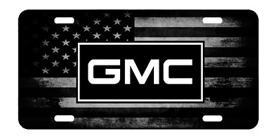 New Custom American USA Flag Tactical Black And White GMC License Plate Car Tag