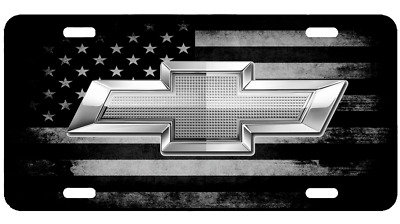 Custom American USA Flag Tactical Black And White Chevy License Plate Car Tag