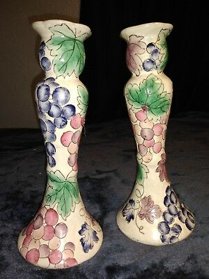 Pair of Chinoiserie Porcelain Candle Stick Holder grapes Pattern. Pre-owne