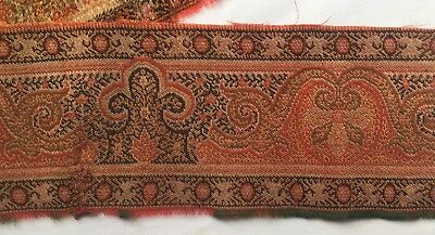 Antique Wool Paisley Frag. Border Rich Colors Fine Weave French