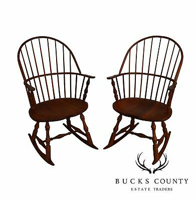 Martins Chair Shop Bench Made Solid Cherry Sackback Pair of Windsor Rockers (B)