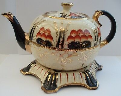 Mid Victorian GAUDY WELSH Tea Pot with Stand, Imari Style Pattern with Gilding