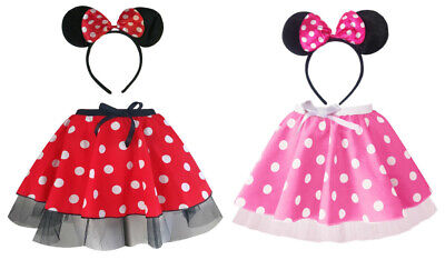 """Ladies MINI MOUSE Style Costume Fancy Dress 12/"""" length SKIRT AND EAR SET"""