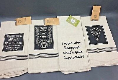 Farmhouse Country French Theme Fun Sayings Set Of 4 Kitchen Towels