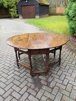 Late 17th or Early 18th Century Oak Double Gateleg Table Initials EG