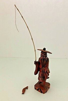Vintage Asian Japanese Carved Old Man Figure Fishing Red Wood Statue w/Fish