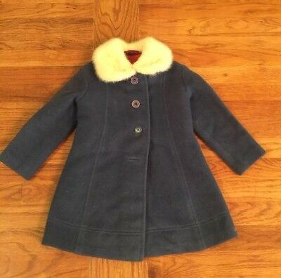 VINTAGE CHILD'S Blue Coat With Real Mink Collar Buttons Up The Front 1950s
