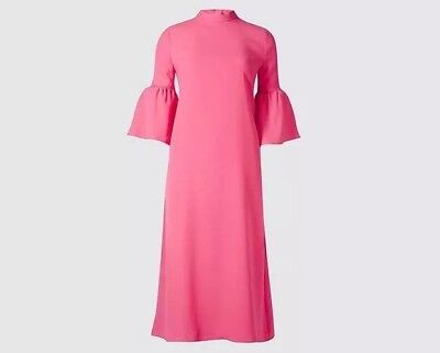 8626b9b0cd Hot Pink M S Midi Tunic Shift Dress With 3 4 Bell Sleeves Size 10 Brand